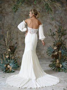 Browse our collection of whimsical, dreamy wedding gowns designed for the bohemian chic, pretty princess bride of today Wedding Dress Sleeves, Long Sleeve Wedding, Braided Hairstyles For Wedding, Bride Hairstyles, Bridal Gowns, Wedding Gowns, Bridal Hair Inspiration, Bridal Separates, Relaxed Wedding