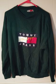 Vtg Tommy Hilfiger Mens Large Blue Fleece Lined Red White Blue Logo Sweatshirt by RickyTreasures on Etsy