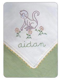 Monkey embroidery baby blanket