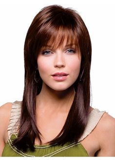 Long Tresses Style with Neat Bang Synthetic Wig
