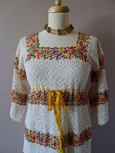 Mexican Lace VINTAGE Wedding dress bohemian by LivingTextiles