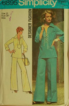 Laced Top and WideLeg Pants  1970's  Simplicity by patterntreasury, $12.95