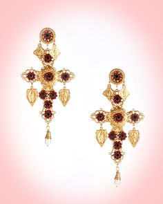 Gold Cross Earrings with Red Crystal Flowers and Pearl Drop - Designed by Shelley Cooper, Sweet Romance Jewelry is made in the USA and is both high-quality and highly collectible!  Her pieces are inspired by art and antiques through the ages, and are featured in museum collections as well as the Edith Head wardrobe department at Paramount studios.   Designed and created specifically for our Spanish Capsule Collection, these magnificent earrings are exquisitely-made and have beautiful…