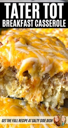 Easy Casserole Recipes For Dinner Beef, Brunch Recipes, Healthy Dinner Recipes, Breakfast Recipes, Tater Tot Recipes, Tater Tot Breakfast Casserole, Breakfast Cassarole, Mexican Casserole, Casserole Dishes
