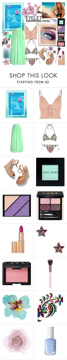 """""""Pool Party"""" by luvmrb61899 ❤ liked on Polyvore featuring River Island, Chicwish, Mara Hoffman, Schutz, Bobbi Brown Cosmetics, Elizabeth Arden, Gucci, Charlotte Tilbury, NARS Cosmetics and Luxie"""
