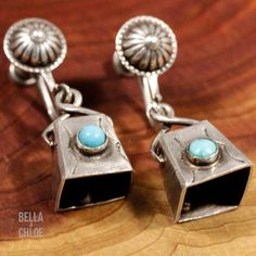 Sterling Silver - NAVAJO 3D Turquoise Bell 6g - Screw-Back Earrings NW4961