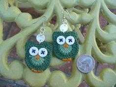 Crochet earrings  Green Owl  by LoveCraftingFor you