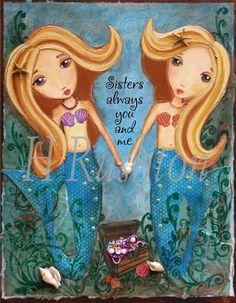 Mermaid Sisters Art -Children Decor-  Mixed Media- Sisters Art Print- Whimsical 8x10 and 5x7