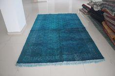 Overdyed Rug Turquoise Rug Overdyed Carpet by AnatolianSpindle