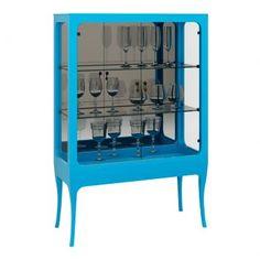 Cristaleira Azul Com Portas Turquesa