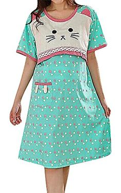 USR Womens Colorful Printed Maternity Breastfeeding Tunic Dress Sleepwear SkyBlue XL ManufacturerXXL