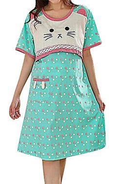 USR Womens Colorful Printed Maternity Breastfeeding Tunic Dress Sleepwear SkyBlue XL ManufacturerXXL