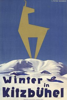 Vintage Travel Poster - Kitzbühel - Austria by Anton Lois - Ski Vintage, Vintage Ski Posters, Poster Retro, Poster Design, Graphic Design, Retro Illustration, Illustrations, Beach Trip, Hawaii Beach