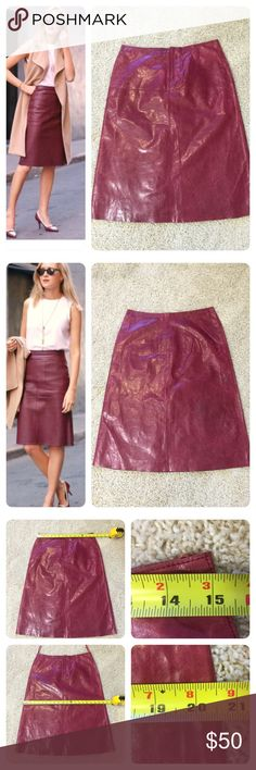 NWT! Banana Republic leather skirt New with tags!  Gorgeous red leather a line skirt from Banana Republic. Slight distressed look to leather (see last pic). Front zipper. Model pics are not actual skirt just to show styling examples. Leather is thin and soft!  So many styling options! Banana Republic Skirts