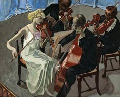 .:. String Quartet (c.1943).John Copley (British, 1875-1950). Oil on canvas.Glasgow Museums. In 1909 Copley and Joseph Pennell started the Senefelder Club to publicise and promote lithography as an artistic medium. During this time he met the French-English artist Ethel Léontine Gabain and the couple married in 1913.He won a silver medal in the art competitions at the 1948 Summer Olympics at he age of 73.