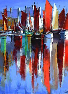 French Art Network | Eric Le Pape - LA FETE DES VOILES A PAIMPOL - (39 3/6 x 28 3/4 inches) - oil on linen painting.