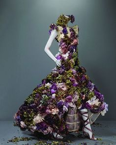 A dress made out of flowers from autumn/winter 2007 at the 'Alexander McQueen: Savage Beauty' exhibition in New York - Fashion Galleries