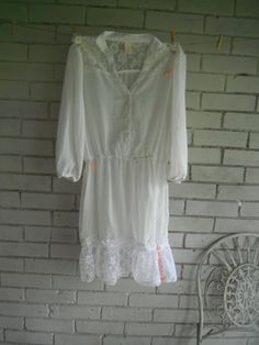 ladies sheer off white blouse dressy blouse shbby by ShabbyRoad, $36.00