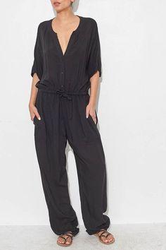 Black Button Up Jumpsuit by Raquel Allegra | shopheist.com