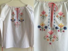 1970s White Cotton Embroidered Peasant Blouse  Size by HappyRedUK