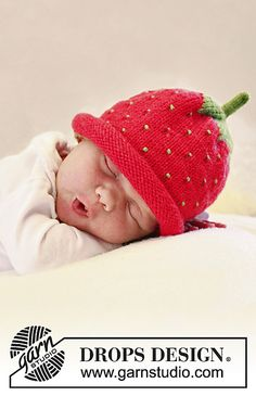 Strawberry hat  *Free pattern download---I think I would do the rim in seed stitch to get rid of the rolling, plus the seed stitch seems like it would be fitting. ;)