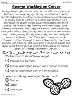 george washington carver reading passage reading passages  george washington carver reading comprehension passage multiple choice and differentiated writing paper