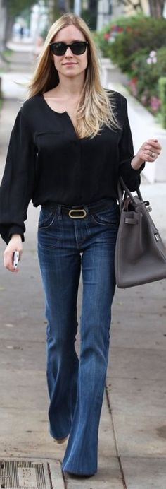 Who made  Kristin Cavallari's blue jeans, black sunglasses, and tan handbag that she wore in Beverly Hills?