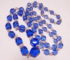Vintage Art Deco blue and crystal glass faceted bead necklace •Possibly Czech or…