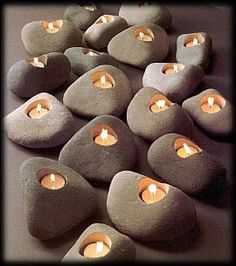 Earth Lights Rock Candles - Set of 3 votive holders in natural shades of gray