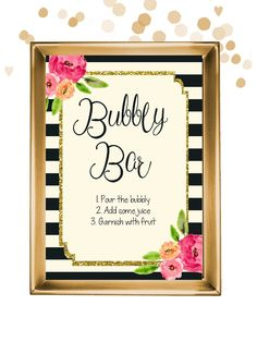 INSTANT DOWNLOAD Bubbly Bar printable sign for a champagne bridal shower or bachelorette party by Pretty Printables Ink on Etsy