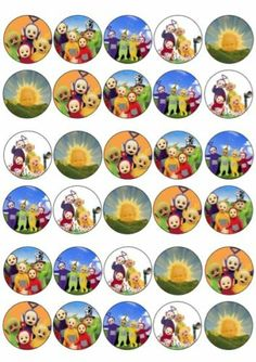 - 30 X Teletubbies Mixed Images Edible Cupcake Toppers Premium Rice Paper 204 & Garden Baby Shower Cupcake Toppers, Edible Cupcake Toppers, 2nd Birthday Parties, Boy Birthday, Birthday Ideas, Birthday Cake, Teletubbies Cake, Bow Image, Edible Cups