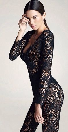 All lace see through long sleeve bodysuit