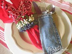 Red bandana and denim fabric scraps to make placemats for umbrella table on deck