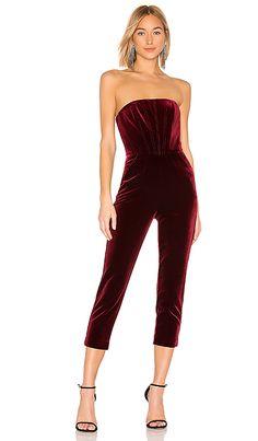 2cba3395594 x REVOLVE Velvet Strapless Jumpsuit in Burgundy