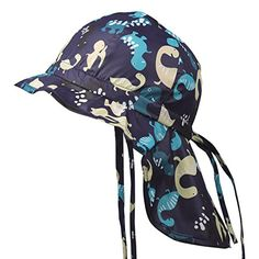 4476332f7bf Flammi Baby Toddler Flap Sun Hat with Chin Strap Adjustable Cartoon  Dinosaur Printed Hat Cap Sun Protective Swim Hat