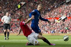 Luke Shaw brought down Tony Hibbert in the penalty area to concede a first-half penalty