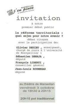 Marseillan : Débat sur la réforme territoriale  @ Théâtre de Marseillan   Marseillan   Languedoc-Roussillon   France