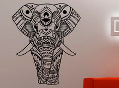 Indian Elephant Wall Sticker Elephant Vinyl by AmandaCooldesigns