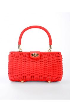Wicker Baguette Purse in Red with Fruit Charm | Vintage Inspired Baguette Wicker Purse by Pinup Couture Handbags with cute detachable 3D Vintage Fruit Charms. Handwoven from durable vinyl-coated rattan, our sturdy bags feature a beautiful faille fabric lining with open pocket, matching faux-leather closure tab and rose-gold metal details. - See more at: http://www.pinupgirlclothing.com/wicker-baguette-red-2.html#sthash.ORCivd8W.dpuf