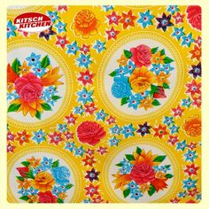 ♥Kitch Kitchen Yellow♥ Delish Kitchen, Kitchen Yellow, Bloom Where You Are Planted, Kitsch, Florals, Retro Vintage, Desktop, Fabrics, Patterns