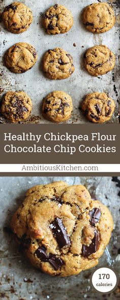 Chickpea Flour Chocolate Chip Cookies, Desserts, These Chickpea Flour Chocolate Chip Cookies are addicting in the best way. They& dairy free, gluten free, grain free and may just be the best gl. Gourmet Cookies, Healthy Cookies, Healthy Sweets, Healthy Dessert Recipes, Healthy Baking, Vegan Desserts, Baking Recipes, Cookie Recipes, Delicious Desserts