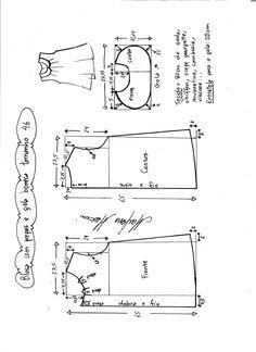 Esquema de modelagem de blusa com pregas e gola boneca tamanho 46.