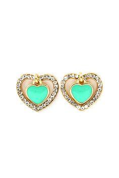 Spade of Hearts Earrings in Mint on Emma Stine Limited