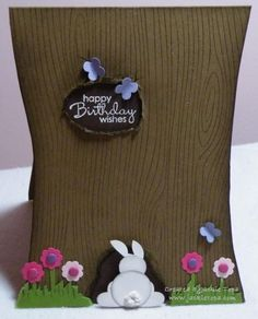 """Spring Tree - To make the bunny and butterflies use the following Stampin' Up punches: Head; 1/2"""" circle, Body; 3/4"""" circle,Ears; bird punch (leaves), Feet; small heart, Tail & Butterflies, Itty Bitty Punch Pack."""