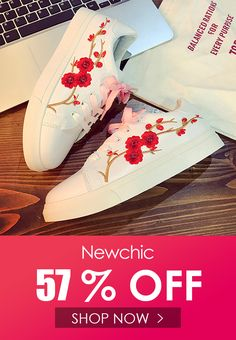 new style 8aded 40aa4 Flower Embroidery White Casual Lace Up Shoes