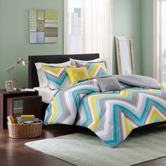 Intelligent Design Ariel Chevron Reversible Comforter Set (Blue) ($75) ❤ liked on Polyvore featuring home, bed & bath, bedding, comforters, blue, chevron comforter set, extra long twin comforter, chevron comforter, extra long twin bedding and twin comforter