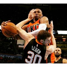 It's OK, Jon Leuer ... it's not you, it's Russell Westbrook. The Thunder star posted his fourth straight double-double in OKC's victory over Phoenix. [Credit: Sue Ogrocki/AP Photo]