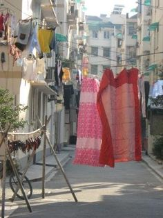 Laundry and food done on the same alley.