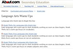 Daily language arts warm ups to start students working as soon as class begins.  http://712educators.about.com/od/languageartswarmups/Language_Arts_Warm_Ups.htm