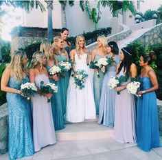 Blue bridesmaid dresses | mysweetengagement.com These colors are beautiful
